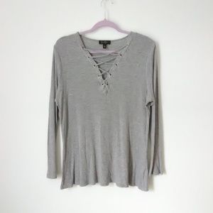 Jessica Simpson Gray Ribbed Lace Up Top